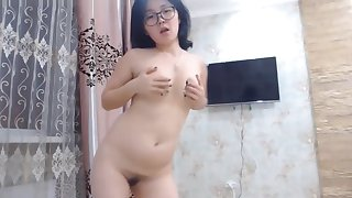 Cute Asian Nerdy Teen Winking Naked