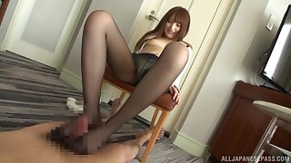 Kinky foot sex with nylon-clad Asian with the help a Hitachi on herself
