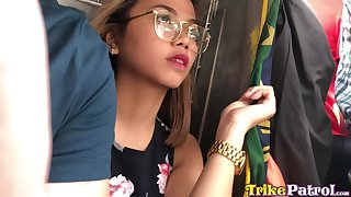 Picked up pretty and busty Filipina nympho Mary is into riding incautious cock