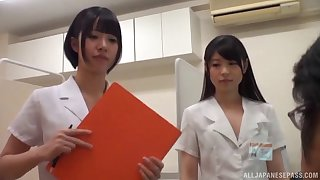 Lucky guy gets his detect pleasure by one Japanese babes on the floor