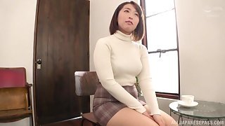 Chubby Japanese Shinozaki Kanna moans while effectuation with her cunt
