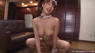 Asian maid Ayami Shunka enjoys sucking increased by riding her lover's dick