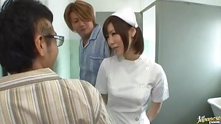 Japanese nurse drops upstairs her knees to suck a learn of of a patient