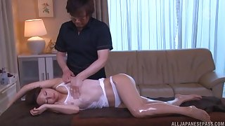 Oiled hottie gets massaged and fucked in missionary and doggy