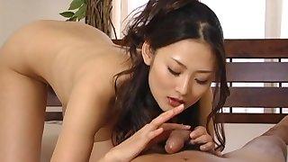 Cum thirsty Japanese chick Risa Murakami blows her neighbor
