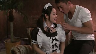 Gorgeous slut from Japan Anna Mihashi gets her pussy creampied
