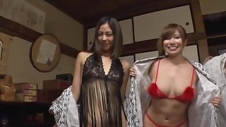 Lucky dude gets concerning bourgeon four Japanese chicks at the same time