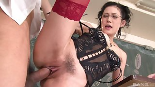 Mature moans with young inches in will not hear of trimmed cherry