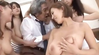 Asian babes in party with one horny old man