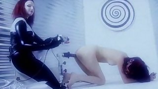 Raunchy bitch bangs her Asian GF with weird sex toys