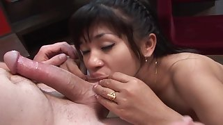 Naughty girl Nay sucks a cock before she gets pounded by it