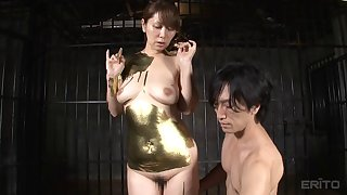 Japanese couple paint each other golden and indeed go to have some golden sex