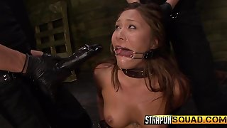 Collared girl takes a pussy pounding from her mistresses