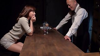 Cute girl gets herself into strike by flirting with a horny bartender