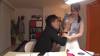Shy Japanese agony aunt in chum around with annoy air glasses fucked on chum around with annoy office table