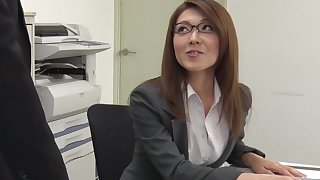 Sexy carries woman immigrant Japan Mao Saitou is masturbating pussy in the office